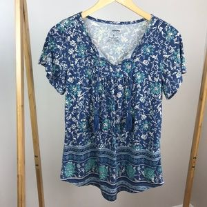 Sonoma • Floral Short Sleeve Top Tassels Small